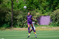 SANFORD, FL - APRIL 3: Phoebe McClernon of the Orlando Pride heads the ball during a game between Florida State Seminoles and Orlando Pride at Sylvan Park Training Center on April 3, 2021 in Sanford, Florida.