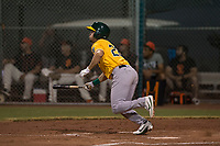 AZL Athletics center fielder Chase Calabuig (28) starts down the first base line during an Arizona League game against the AZL Giants Black at the San Francisco Giants Training Complex on June 19, 2018 in Scottsdale, Arizona. AZL Athletics defeated AZL Giants Black 8-3. (Zachary Lucy/Four Seam Images)
