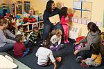 Education Preschool classroom scenes 2s program circle time 7 children 3 adults