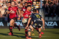 Richie Mo'unga passes during the 2020 Super Rugby match between the Crusaders and Highlanders at Orangetheory Stadium in Christchurch, New Zealand on Saturday, 9 August 2020. Photo: Joe Johnson / lintottphoto.co.nz