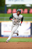 Fort Wayne TinCaps outfielder Franchy Cordero (22) running the bases during a game against the Lake County Captains on May 20, 2015 at Classic Park in Eastlake, Ohio.  Lake County defeated Fort Wayne 4-3.  (Mike Janes/Four Seam Images)