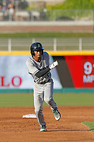 Dayton Dragons outfielder Andy Sugilio (5) running the bases during a game against the Lansing Lugnuts at Cooley Law School Stadium on August 10, 2018 in Lansing, Michigan . Lansing defeated Dayton 11-4.  (Robert Gurganus/Four Seam Images)