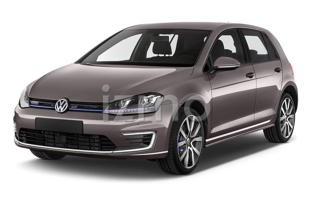 2015 Volkswagen Golf GTE 5 Door Hatchback 2WD Angular Front stock photos of front three quarter view