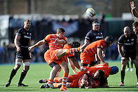 Ben Youngs of Leicester Tigers sends up a box kick during the Aviva Premiership Rugby match between Saracens and Leicester Tigers at Allianz Park on Saturday 11th April 2015 (Photo by Rob Munro)