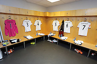 Pictured: Home team shirts in the changing room. Sunday, 01 June 2014<br /> Re: Celebrities v Celebrities football game organised by Sellebrity Scoccer, in aid of Swansea City Community Trust, at the Liberty Stadium, south Wales.