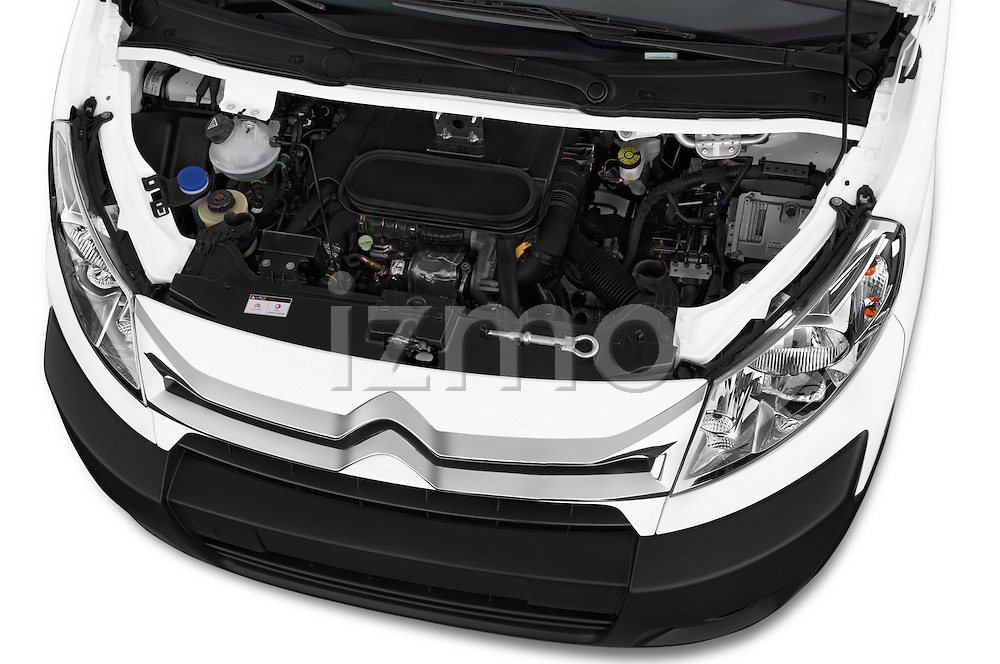 Car stock 2015 Citroen Jumpy L1H1 Ft10 4 Door Cargo Van engine high angle detail view