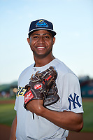 Trenton Thunder pitcher Domingo Acevedo (46) poses for a photo before a game against the Richmond Flying Squirrels on May 11, 2018 at The Diamond in Richmond, Virginia.  Richmond defeated Trenton 6-1.  (Mike Janes/Four Seam Images)