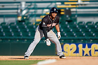 Jupiter Hammerheads second baseman Justin Twine (1) leads off first base during the second game of a doubleheader against the Bradenton Marauders on May 27, 2018 at LECOM Park in Bradenton, Florida.  Jupiter defeated Bradenton 4-1.  (Mike Janes/Four Seam Images)