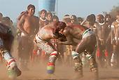 Xingu Indigenous Park, Mato Grosso, Brazil. Aldeia Matipu. Huka Huka wrestling at the Kuarup ceremony.