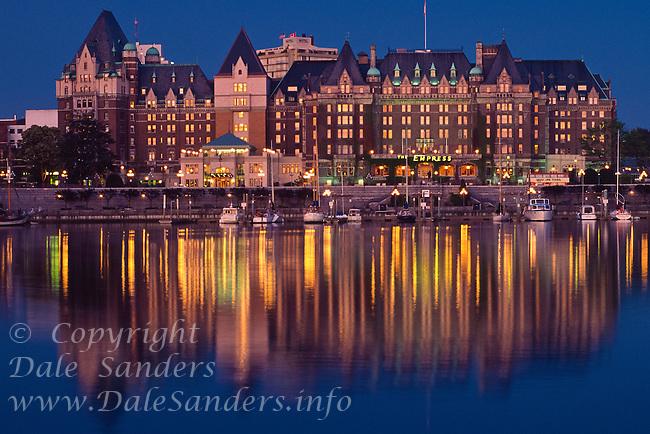 The Empress Hotel at Dusk, Victoria, British Columbia, Canada.