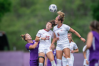 SANFORD, FL - APRIL 3: Clara Robbins, Jaelin Howell of Florida State head the ball during a game between Florida State Seminoles and Orlando Pride at Sylvan Park Training Center on April 3, 2021 in Sanford, Florida.