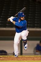 AZL Cubs 1 catcher Alexander Guerra (6) at bat during an Arizona League game against the AZL Diamondbacks at Sloan Park on June 18, 2018 in Mesa, Arizona. AZL Diamondbacks defeated AZL Cubs 1 7-0. (Zachary Lucy/Four Seam Images)