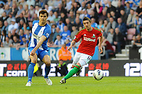Tuesday, 7 May 2013<br /> <br /> Pictured: Antolan Alcaraz of Wigan Athletic, Pablo Hernandez of Swansea City<br /> <br /> Re: Barclays Premier League Wigan Athletic v Swansea City FC  at the DW Stadium, Wigan