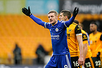 7th February 2021; Molineux Stadium, Wolverhampton, West Midlands, England; English Premier League Football, Wolverhampton Wanderers versus Leicester City; Jamie Vardy of Leicester City asks the puts his hands up asking the referee for a decision in his favour