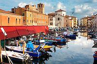 Fishing Boats outside the market on Riva Vena canal - Chioggia - Venice - Italy