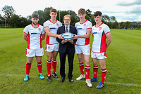 Monday 12th August 2019 | Ulster Schools U18<br /> <br /> Royal Schoo Enniskillen and Ulster Schools U18 players Justin White, Neil Rutledge, David Stinson and Callum Smyton are pictured with Richard Caldwell representing the sponsors Danske Bank during a photo call at the Ulster Schools training base at Newforge Country Club, Belfast, Northern Ireland. Photo by John Dickson / DICKSONDIGITAL