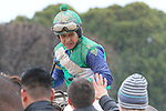 February 22, 2015: Jockey Mike Smith being congratulated by trainer Ron Moquett after winning aboard Far Right in South West Stakes (Grade III) at Oaklawn Park in Hot Springs, AR. Justin Manning/ESW/CSM