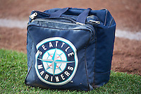 A Seattle Mariners ball bag sits on the field prior to the game between the Tacoma Rainiers and the Salt Lake Bees at Smith's Ballpark on July 9, 2014 in Salt Lake City, Utah.  (Stephen Smith/Four Seam Images)