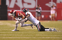 NWA Democrat-Gazette/MICHAEL WOODS • @NWAMICHAELW<br /> University of Arkansas receiver Drew Morgan is tackled by Texas Tech defender JJ Gaines in the 2nd quarter of Saturday nights game against the Razorbacks at Razorback Stadium in Fayetteville.