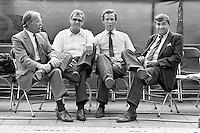 1986, Hilversum, Dutch Open, Melkhuisje, Four tournament directors together, ltr: Gies Pluim, Willem Buitendijk, Frank van de Wall Bake en Piet van Eijsden