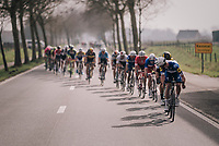 Yves Lampaert (BEL/Quick Step Floors) looking back to find the peloton in echelons after the final ascent of the Kemmelberg<br /> <br /> 81st Gent-Wevelgem in Flanders Fields (1.UWT)<br /> Deinze > Wevelgem (251km)