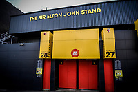 7th November 2020; Vicarage Road, Watford, Hertfordshire, England; English Football League Championship Football, Watford versus Coventry City; An external view of the Sir Elton John Stand at Vicarage Road.