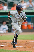 Tim Beckham #22 of the Charlotte Stone Crabs hustles down the first base line against the Jupiter Hammerheads at Roger Dean Stadium June 15, 2010, in Jupiter, Florida.  Photo by Brian Westerholt /  Seam Images
