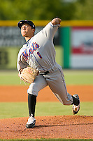 Starting pitcher Angel Cuan #1 of the Kingsport Mets in action versus the Burlington Royals at Burlington Athletic Park July 3, 2009 in Burlington, North Carolina. (Photo by Brian Westerholt / Four Seam Images)