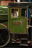 BNPS.co.uk (01202 558833)<br /> Pic: PhilYeomans/BNPS<br /> <br /> Mini marvel - exact scale model of legendary Great Western steam train is chuffing into auction.<br /> <br /> A remarkably detailed model train which produces steam and runs like the real thing has emerged for sale for £80,000.<br /> <br /> The 9ft long, 7.25ins gauge model is a scale replica of the Great Western Railway locomotive 'King Richard I'.<br /> <br /> It has a copper boiler with its own miniature pressure gauge and is fitted with brakes, lamps and a water tank.<br /> <br /> There are removable foot rests attached and such is the attention to detail the driver has a padded seat.<br /> <br /> The locomotive was built by a Manchester based model maker who is now selling it at auction.