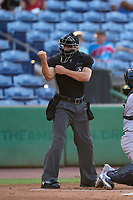 Umpire Casey James calls a strike during a game between the Tampa Tarpons and Clearwater Threshers on June 10, 2021 at BayCare Ballpark in Clearwater, Florida.  (Mike Janes/Four Seam Images)