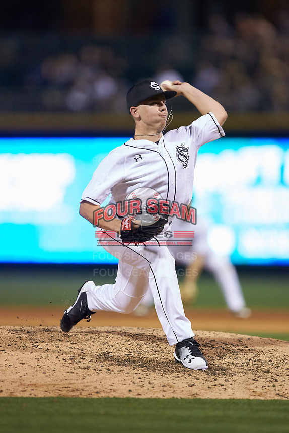 South Carolina Gamecocks relief pitcher John Gilreath (16) in action against the North Carolina Tar Heels at BB&T BallPark on April 3, 2018 in Charlotte, North Carolina. The Tar Heels defeated the Gamecocks 11-3. (Brian Westerholt/Four Seam Images)