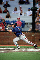 Danville Braves second baseman Greg Cullen (9) follows through on a swing during a game against the Johnson City Cardinals on July 28, 2018 at TVA Credit Union Ballpark in Johnson City, Tennessee.  Danville defeated Johnson City 7-4.  (Mike Janes/Four Seam Images)