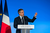 MEETING DE FRANCOIS FILLON A LYON, FRANCE, 12/04/2017. DISCOURS DE FRANCOIS FILLON
