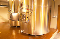 Pressure Stainless steel tank with sparkling wine. Bodega Familia Schroeder Winery, also called Saurus, Neuquen, Patagonia, Argentina, South America