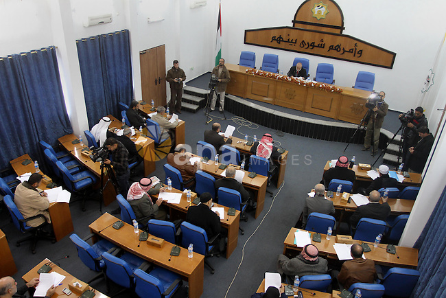 The spokesman of the Palestinian Parliament in Gaza Strip, Ahmed Bahar meets with Members of the Palestinian Legislative council at the Legislative Council, in Gaza City on Dec. 18, 2013. Photo by Mohammed Asad