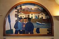 """Europe/France/Aquitaine/64/Pyrénées-Atlantiques/Ciboure: Peintures basques du restaurant """"Chez Dominique"""" 15 quai Maurice-Ravel représentant le port de St Jean de Luz ,Ciboure  et ses pécheurs basques"""