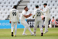 Dane Paterson of Nottinghamshire celebrates taking the wicket of Peter Siddle during Nottinghamshire CCC vs Essex CCC, LV Insurance County Championship Group 1 Cricket at Trent Bridge on 9th May 2021