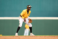 FCL Pirates Gold shortstop Deivis Nadal (3) during a game against the FCL Rays on July 26, 2021 at LECOM Park in Bradenton, Florida. (Mike Janes/Four Seam Images)