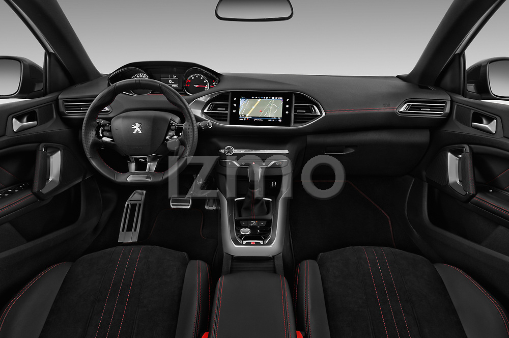Stock photo of straight dashboard view of a 2018 Peugeot 308 GT Line 5 Door Hatchback