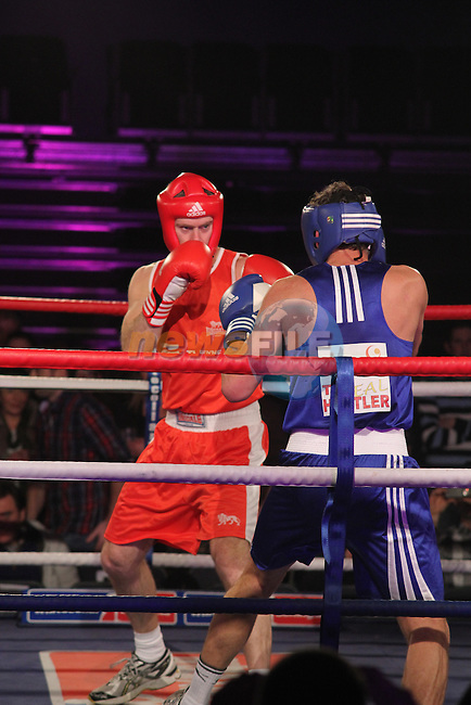 "John O'Brien ""The Boyne Warrior"" (red) and Robbie Maher, ""The Real Hustler"" (blue) sponsored by Glanbia Drogheda Dairies taking part in Drogheda and District, ""Battle of the Barbican"" White Collar Boxing Event in aid of the Des Smyth Foundation...(Photo credit should read Jenny Matthews www.newsfile.ie)....This Picture has been sent you under the conditions enclosed by:.Newsfile Ltd..The Studio,.Millmount Abbey,.Drogheda,.Co Meath..Ireland..Tel: +353(0)41-9871240.Fax: +353(0)41-9871260.GSM: +353(0)86-2500958.email: pictures@newsfile.ie.www.newsfile.ie."