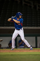AZL Cubs 2 right fielder Drew Wharton (27) at bat during an Arizona League game against the AZL Rangers at Sloan Park on July 7, 2018 in Mesa, Arizona. AZL Rangers defeated AZL Cubs 2 11-2. (Zachary Lucy/Four Seam Images)