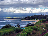 A view of the famous surfing pipeline ont he North Shore of Oahu, Hawaii.
