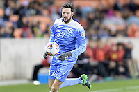 Houston, TX - Friday December 9, 2016: Walker Hume (37) of the North Carolina Tar Heels chases a loose ball against the Stanford Cardinal at the NCAA Men's Soccer Semifinals at BBVA Compass Stadium in Houston Texas.