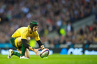 Berrick Barnes of Australia lines up a kick during the Cook Cup between England and Australia, part of the QBE International series, at Twickenham on Saturday 17th November 2012 (Photo by Rob Munro)
