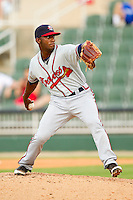 Rome Braves relief pitcher Wilson Rivera (22) in action against the Kannapolis Intimidators at CMC-Northeast Stadium on August 5, 2012 in Kannapolis, North Carolina.  The Intimidators defeated the Braves 9-1.  (Brian Westerholt/Four Seam Images)