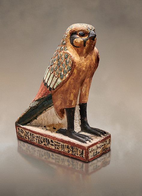Ancient Egyptian wooden falcon bird, Late Period (722-322 BC), Egyptian Museum, Turin. Cat 986. <br /> <br /> Wooden tomb models were an Egyptian funerary custom from the Middle Kingdom in which wooden figurines and sets were constructed to be placed in the tombs of Egyptian royalty. These wooden models represented the work of servants, farmers, other skilled craftsman, armies, and religious rituals