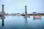 The Phare d'Eckmühl, also known as Point Penmarc'h Light or Saint-Pierre Light, is an active lighthouse in Penmarc'h, Finistère department, Brittany, France. At a height of 213 feet (65 m) it is one of the tallest lighthouses in the world. It is located at the port of Saint-Pierre, on Point Penmarc'h, on the southwestern corner of Finistère and the northwestern entrance to the Bay of Biscay.