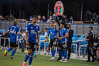 SAN JOSE, CA - MAY 12: Chris Wondolowski #8 and Andres Rios #25 of the San Jose Earthquakes enter the field during a game between San Jose Earthquakes and Seattle Sounders FC at PayPal Park on May 12, 2021 in San Jose, California.