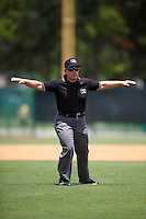 Umpire Jennifer Pawol safe call during a game between the GCL Blue Jays and GCL Braves on August 5, 2016 at ESPN Wide World of Sports in Orlando, Florida.  GCL Braves defeated the GCL Blue Jays 9-0.  (Mike Janes/Four Seam Images)