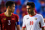 Que Ngoc Hai of Vietnam (L) looks at Ahmad Sameer Saleh of Jordan (R) during the AFC Asian Cup UAE 2019 Round of 16 match between Jordan (JOR) and Vietnam (VIE) at Al Maktoum Stadium on 20 January 2019 in Dubai, United Arab Emirates. Photo by Marcio Rodrigo Machado / Power Sport Images